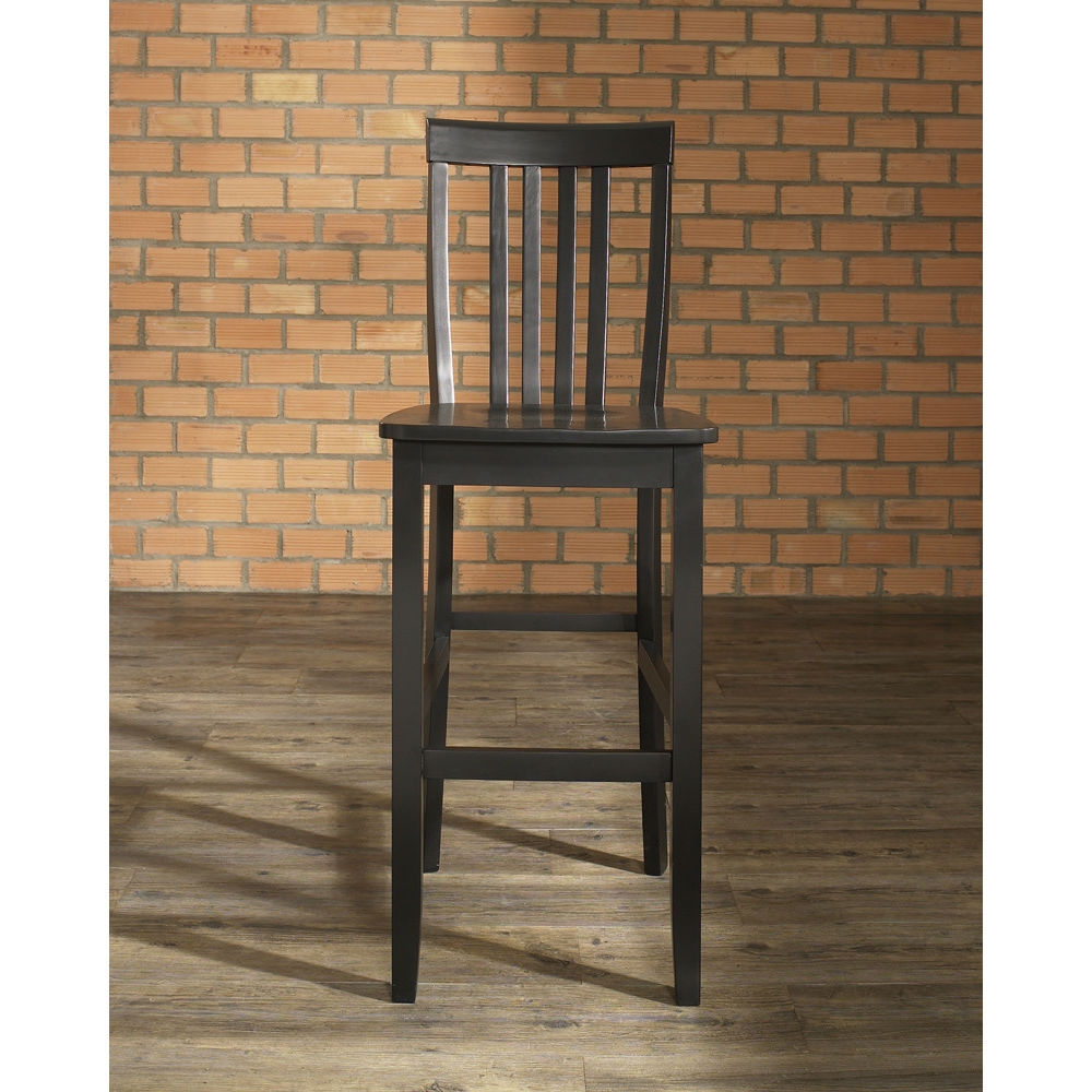Set Of 2 30 Inch Solid Hardwood Bar Stools In Black Finish
