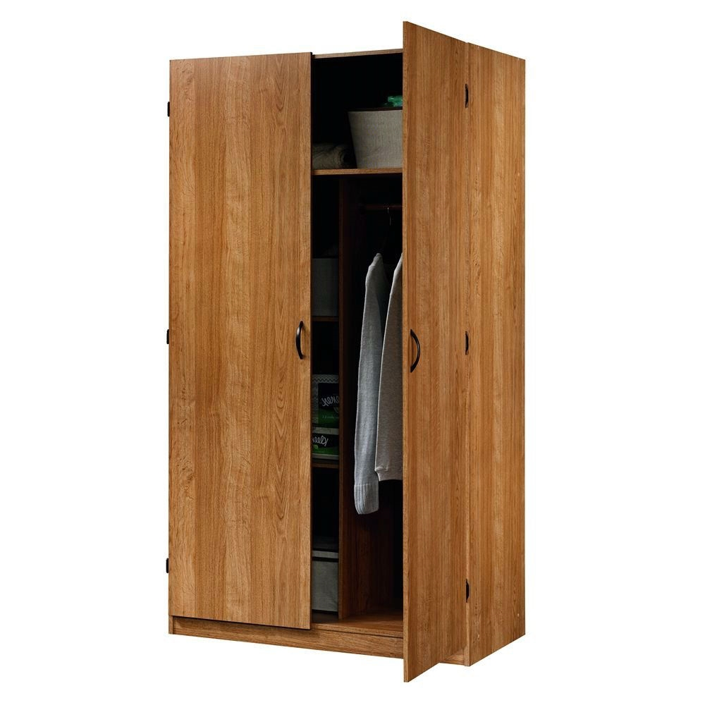Bedroom Clothes Closet Wardrobe Armoire In Medium Oak Wood Finish Fastfurnishings