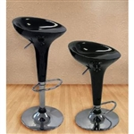 Set of 2 Ice Cream Scoop Style Barstools in Black