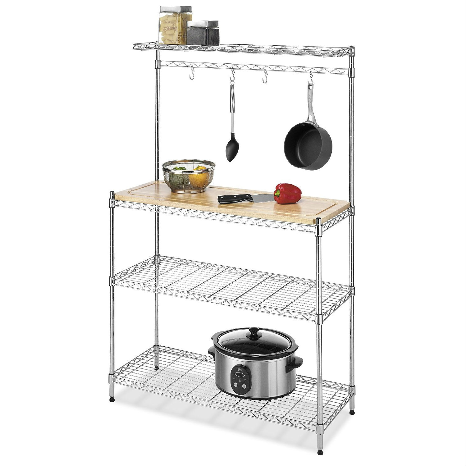 Modern Bakers Rack In Chrome Steel With Removable Wood Cutting Board Fastfurnishings