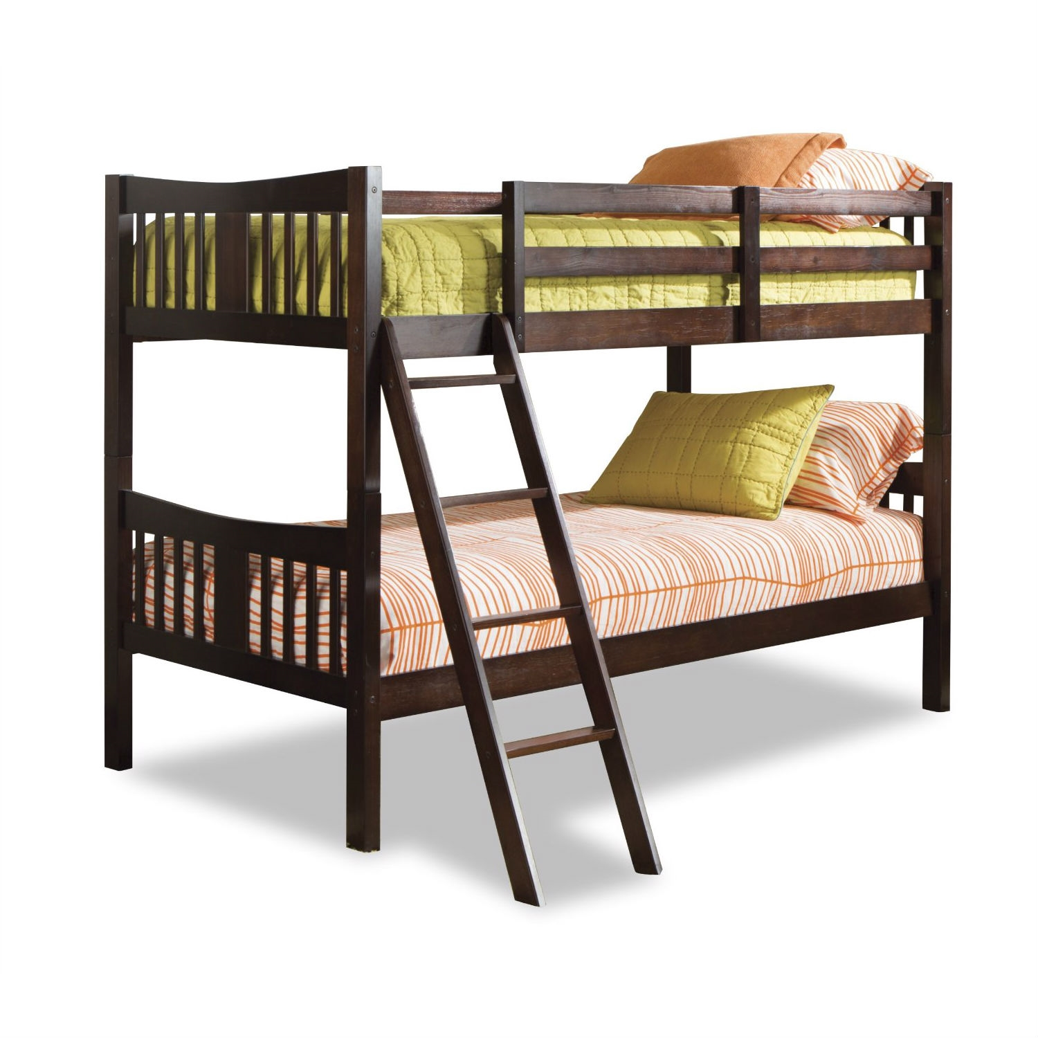 Solid Wood Bunk Bed In Espresso Finish