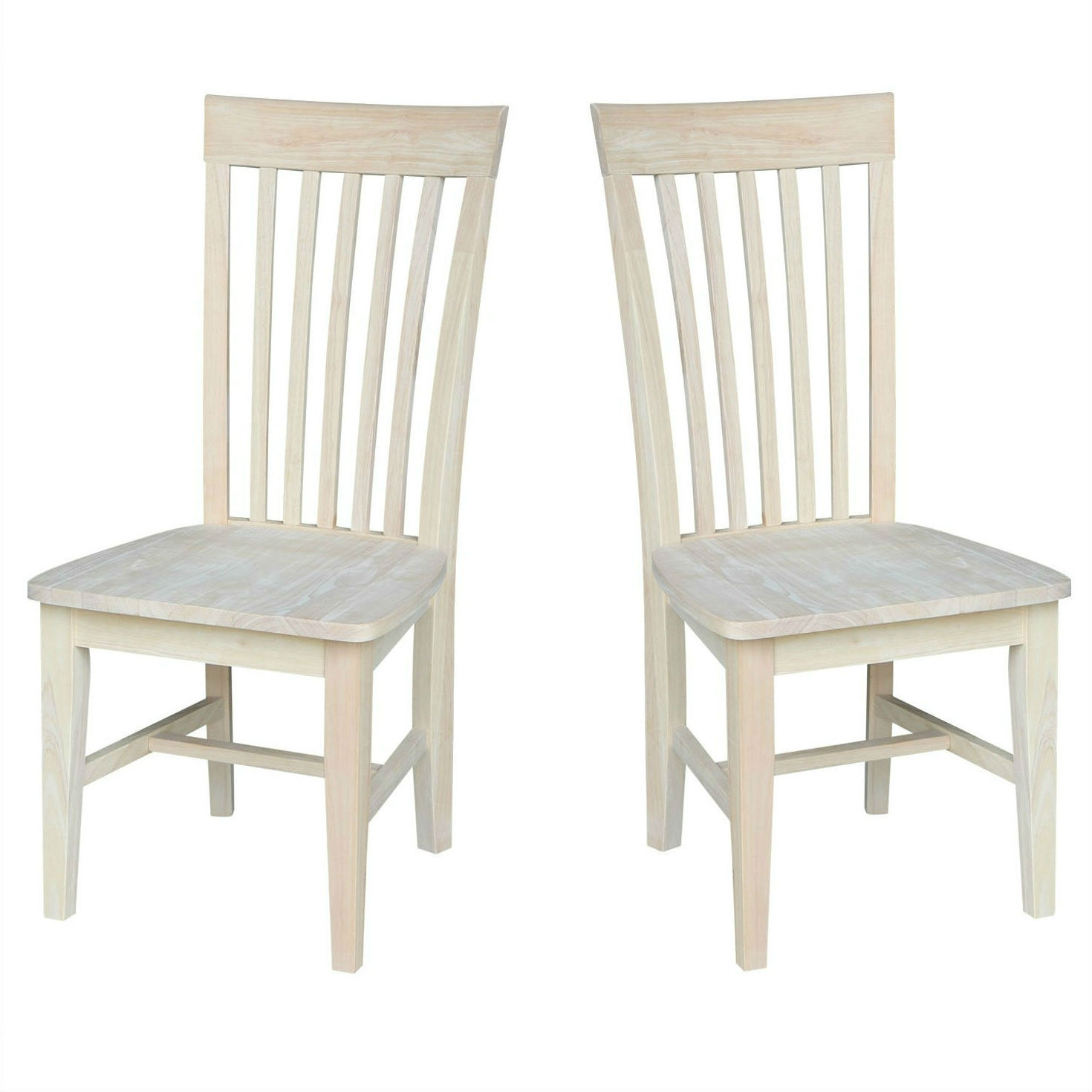 Set Of 2 Mission Style Unfinished Wood Dining Chair With High Back Fastfurnishings