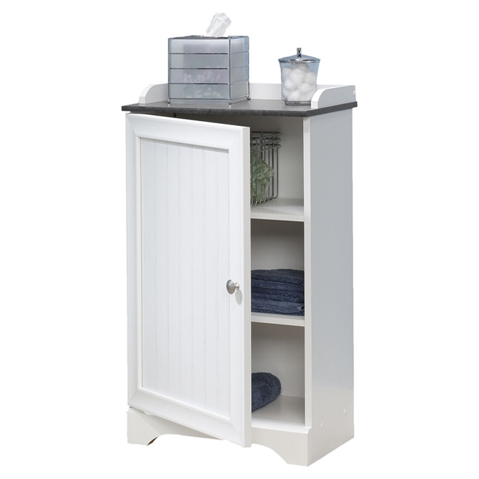 Bathroom Floor Cabinet With Adjule Shelves In White Finish