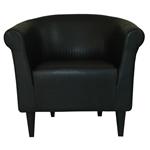 当代经典黑色人造皮革沙发椅