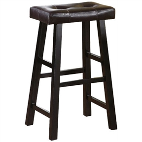 Set of 2 - 29-inch Espresso Bar Stools with Faux Leather Seat