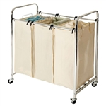 Commercial-Grade Steel Frame 3-Bag Laundry Hamper Cart