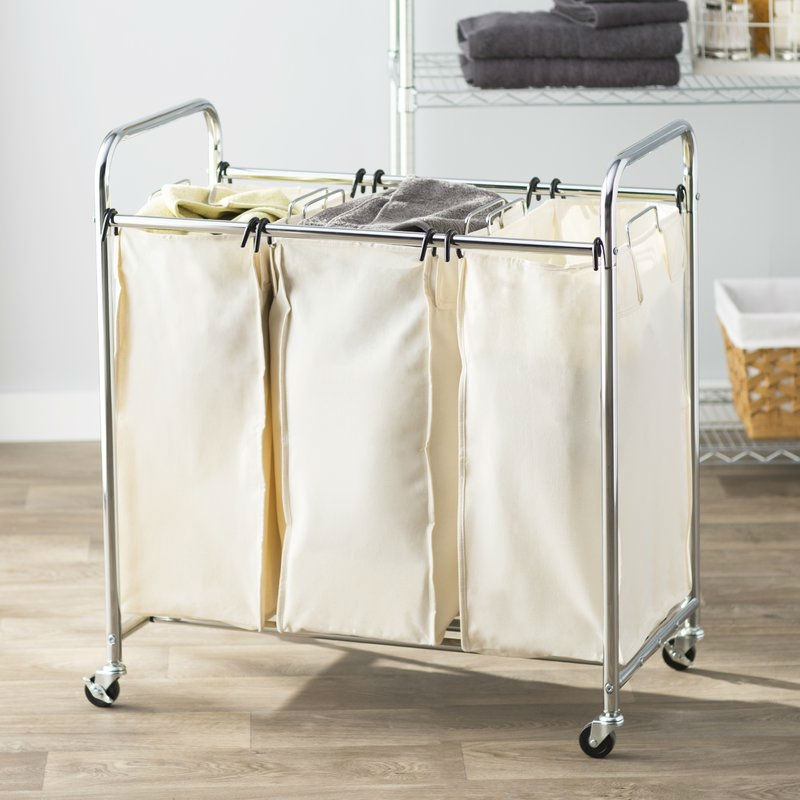 Commercial-Grade Steel Frame 3-Bag Laundry Hamper Cart ...
