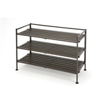 Classic Stackable Folding Utility Shoe Rack in Mocha Finish
