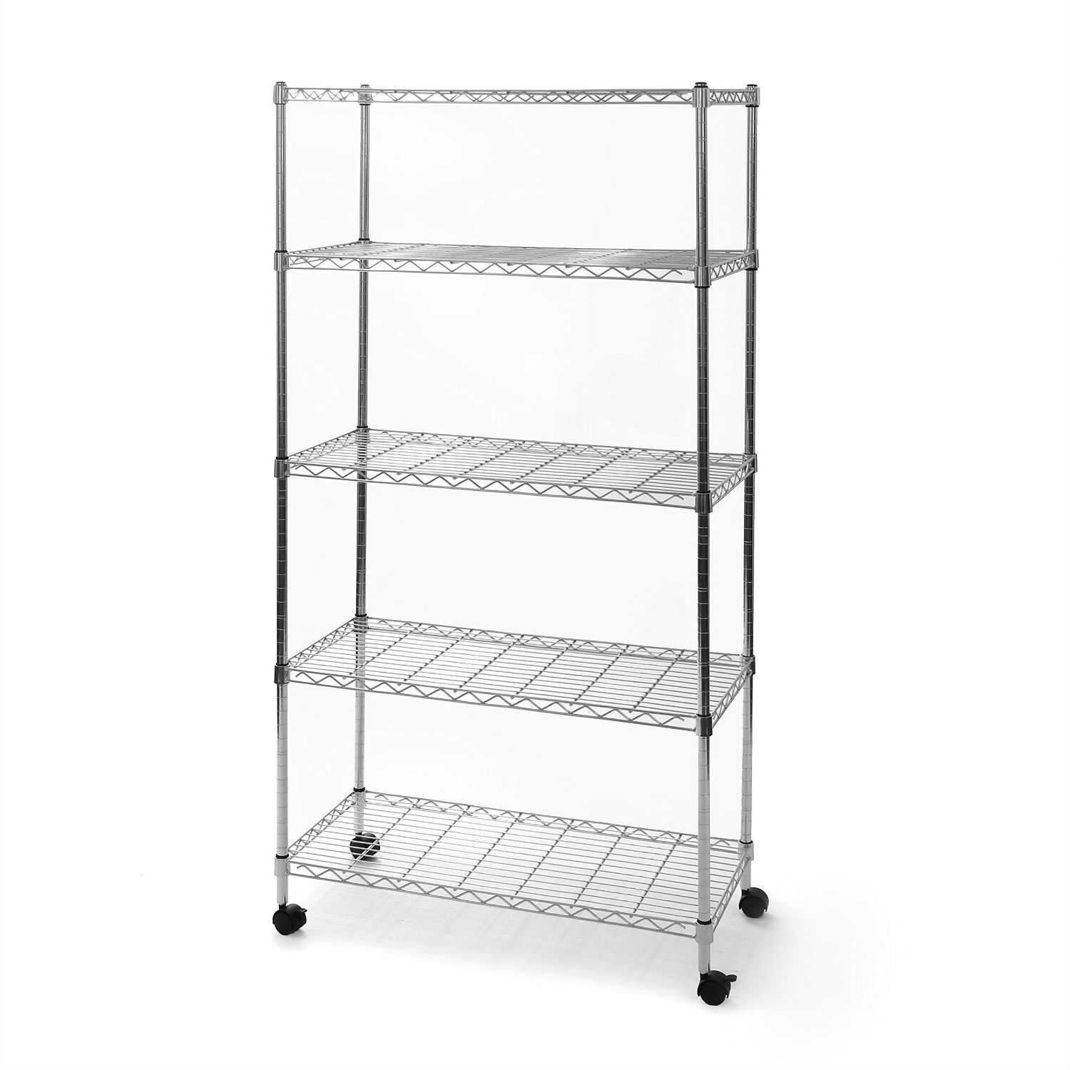 5 Shelf Storage Shelving Unit With Removable Locking Casters Wheels