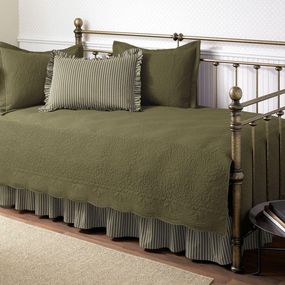 - 5-Piece Daybed Bedding Set In Dark Green Aloe Color