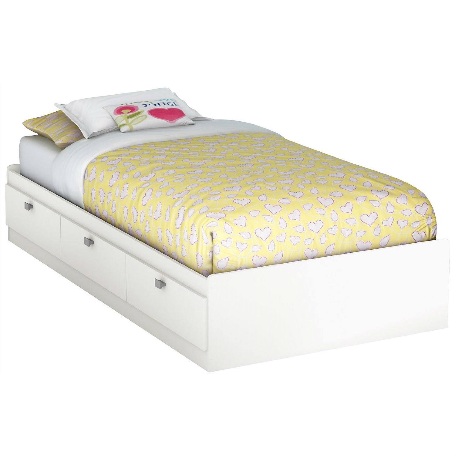 Picture of: Twin Size White Platform Bed For Kids Teens Adults With 3 Storage Drawers Fastfurnishings Com