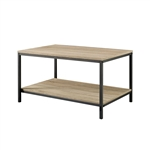 Black Metal Frame Coffee Table with Oak Finish Wood Top and Shelf