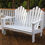 Outdoor Garden Bench Loveseat in White Wood Finish
