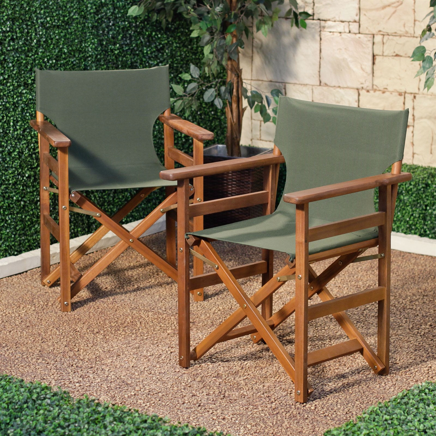Set Of 2   Outdoor Patio Seating Directors Chair With Forest Green Fabric  Seat