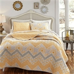 Full / Queen 3 Piece Geometric Sunset Oversized Cotton Quilt Set
