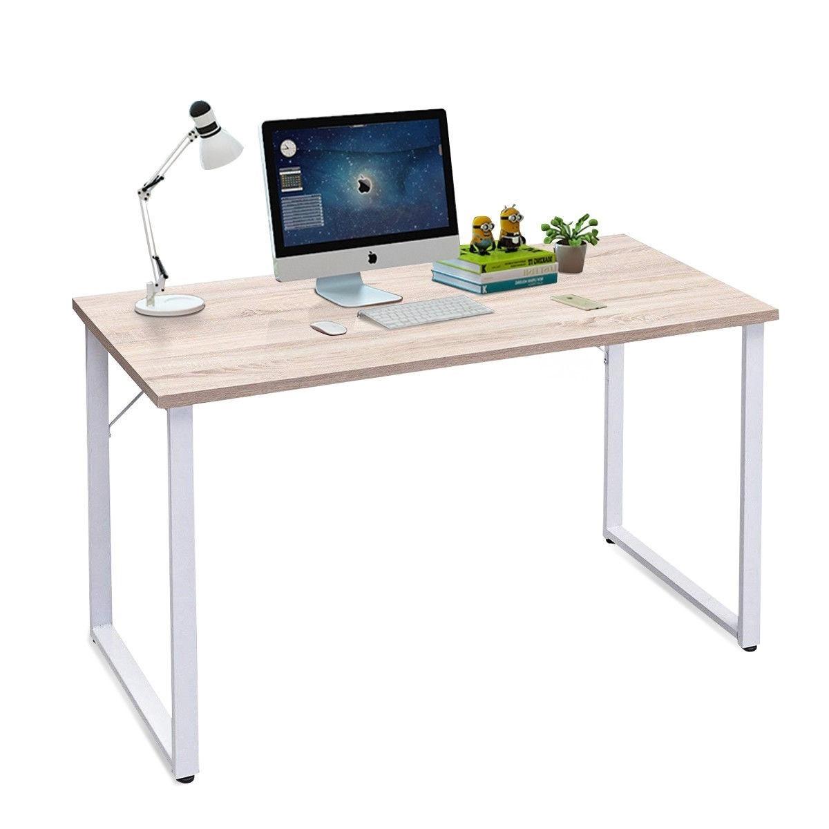 - Modern White Metal Frame Laptop Computer Desk With Natural Wood