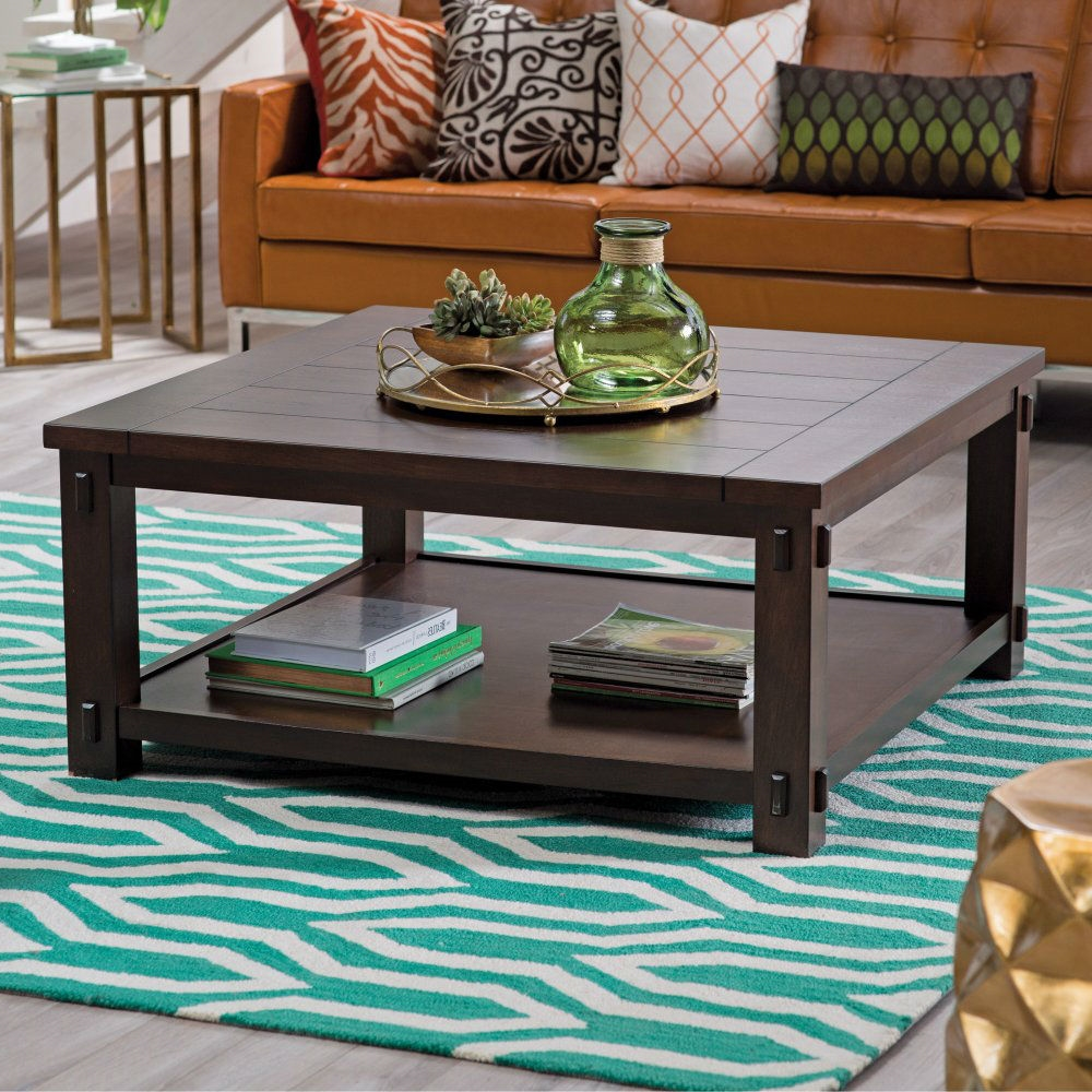 Square wood coffee table in espresso finish fastfurnishings com