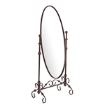 Antique Bronze Finish Metal Cheval Floor Mirror