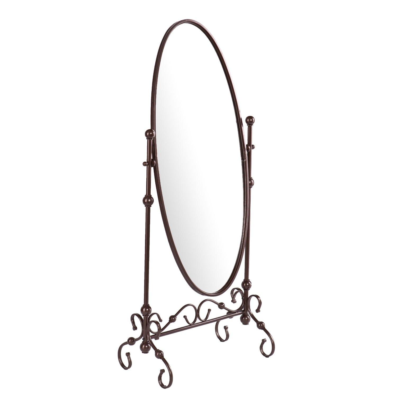 Antique Bronze Finish Metal Cheval Floor Mirror | FastFurnishings.com