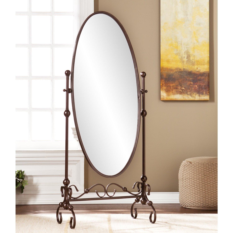 Antique Bronze Finish Metal Cheval Floor Mirror Fastfurnishings Com