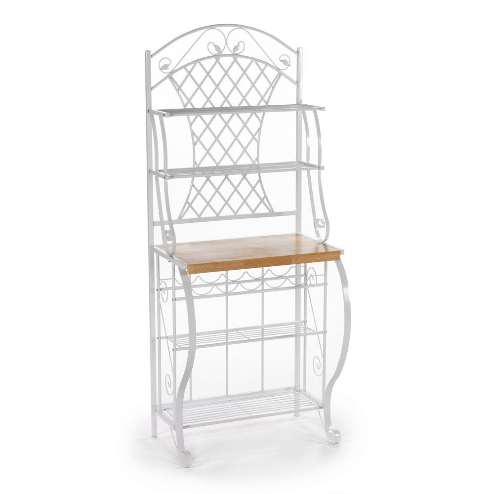 White Metal Bakers Rack with 5 Shelves for Kitchen or Pantry ...