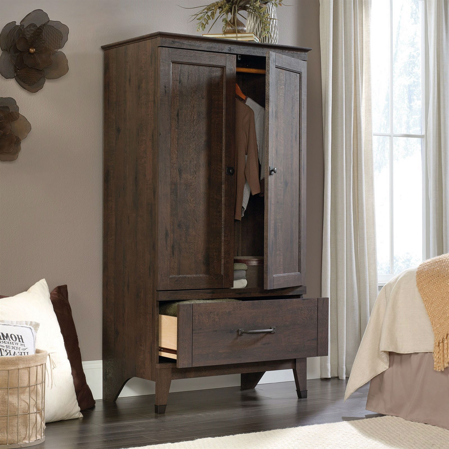 Bedroom Storage Armoire Wardrobe Cabinet in Dark Brown Oak Finish