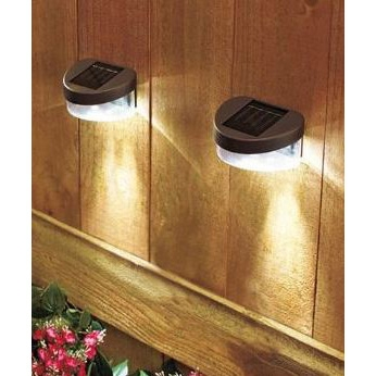 Set Of 2 Solar Fence Lights With Led And Ni Cd Battery