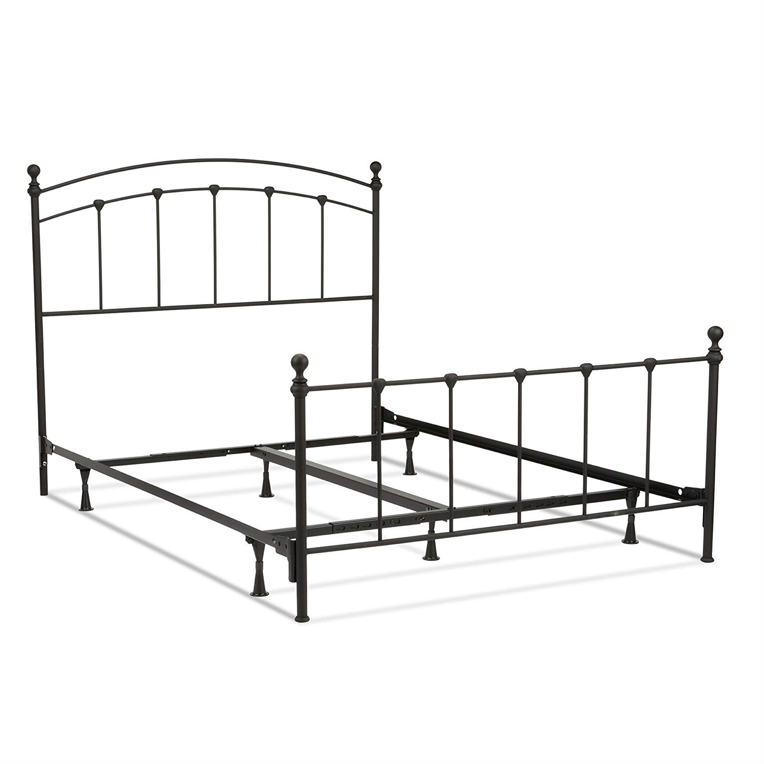Full Size Complete Metal Bed Frame With Round Final Posts Headboard
