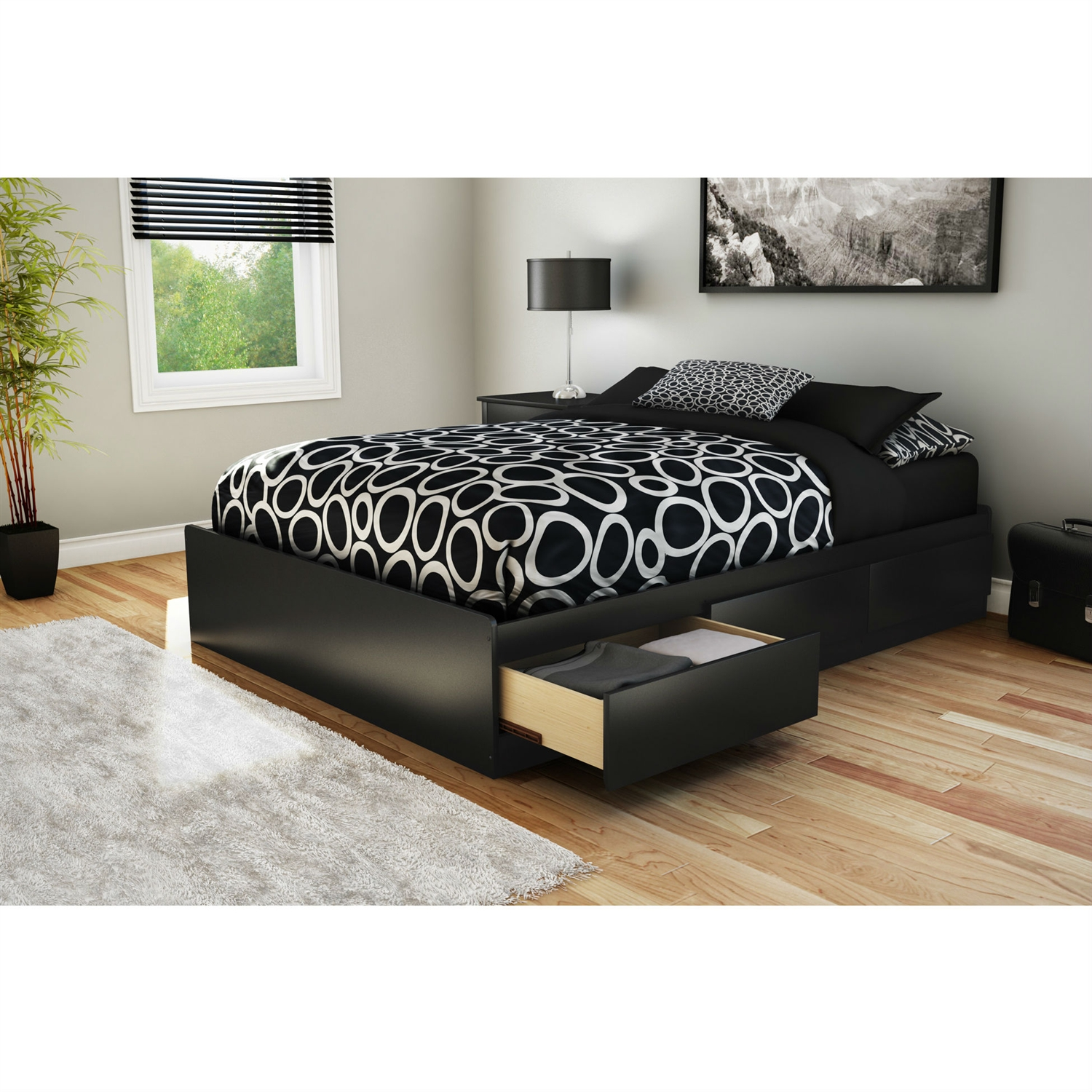 Full Size Modern Platform Bed With 3 Storage Drawers In Black Fastfurnishings Com