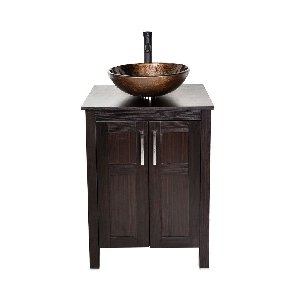 Complete Modern Bathroom Vanity Set with Dark Brown Cabinet Brown Glass Sink Top and Faucet