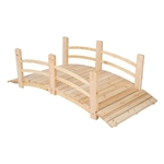 5-Ft Cedar Wood Garden Bridge with Railings in Natural Finish