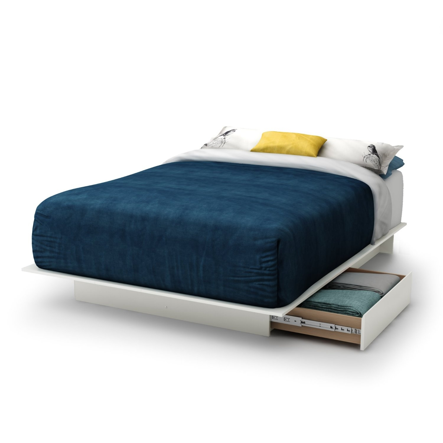 Picture of: Full Size White Modern Platform Bed Frame With 2 Storage Drawers Fastfurnishings Com