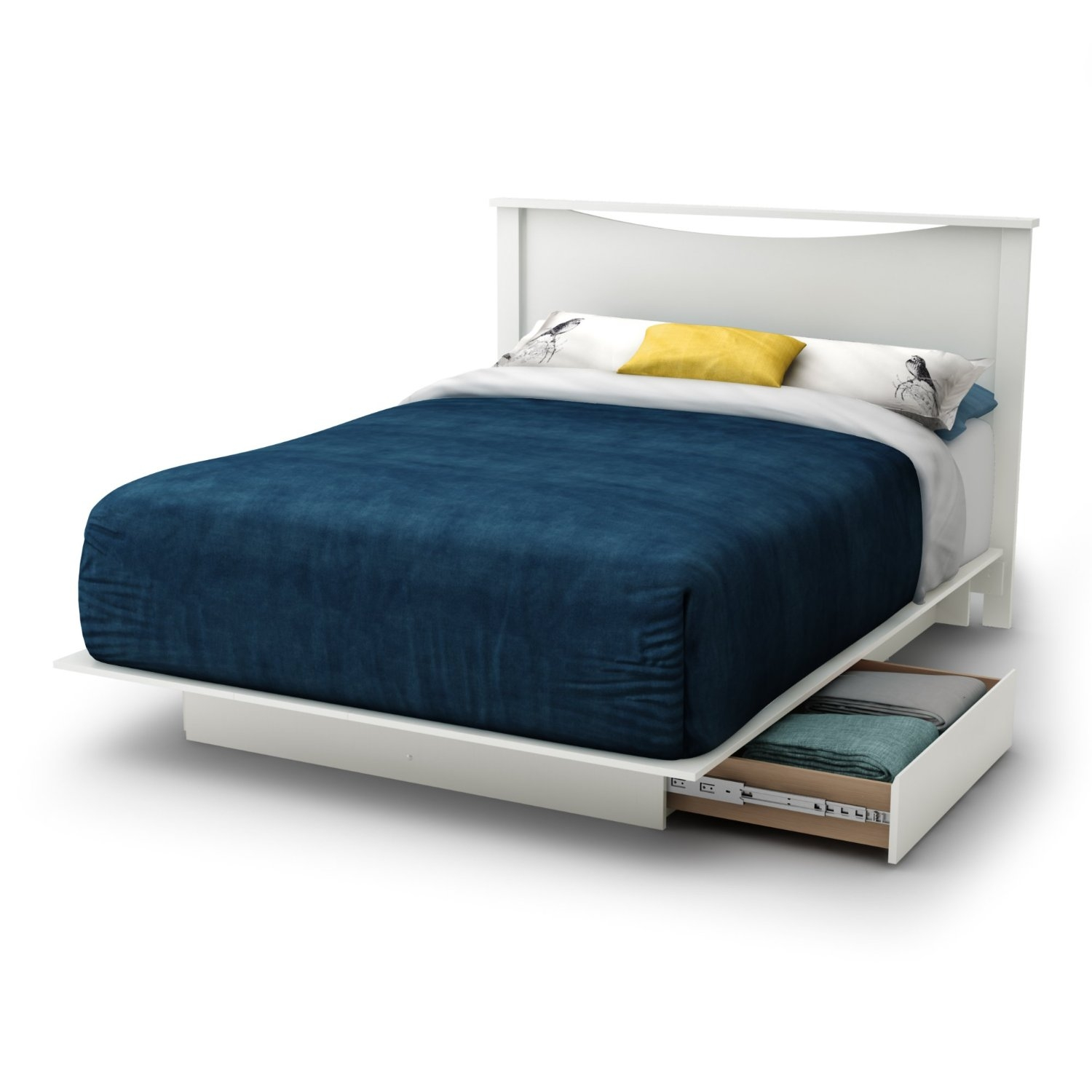 Image of: Full Size White Modern Platform Bed Frame With 2 Storage Drawers Fastfurnishings Com