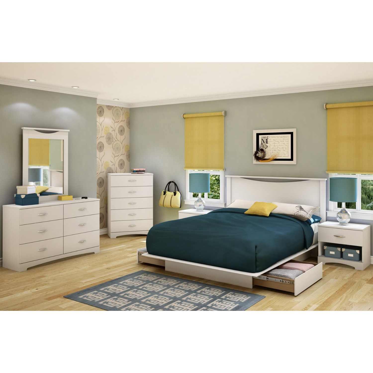 Full size White Modern Platform Bed Frame with 2 Storage Drawers ...
