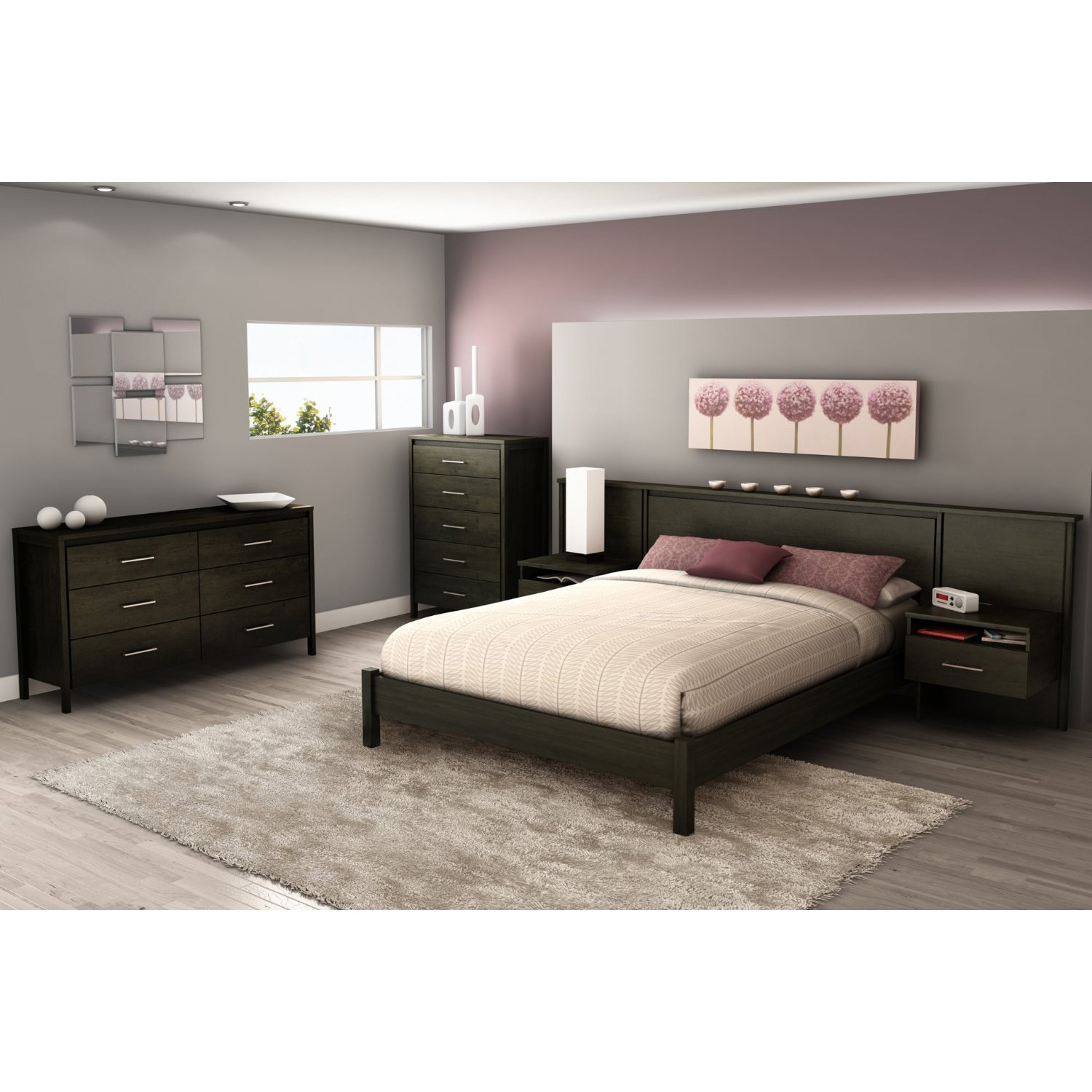 queen size modern platform bed frame in black ebony finish - Black Platform Bed Frame