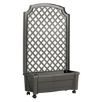 Indoor/Outdoor Grey Polypropylene Wheeled Trellis Planter