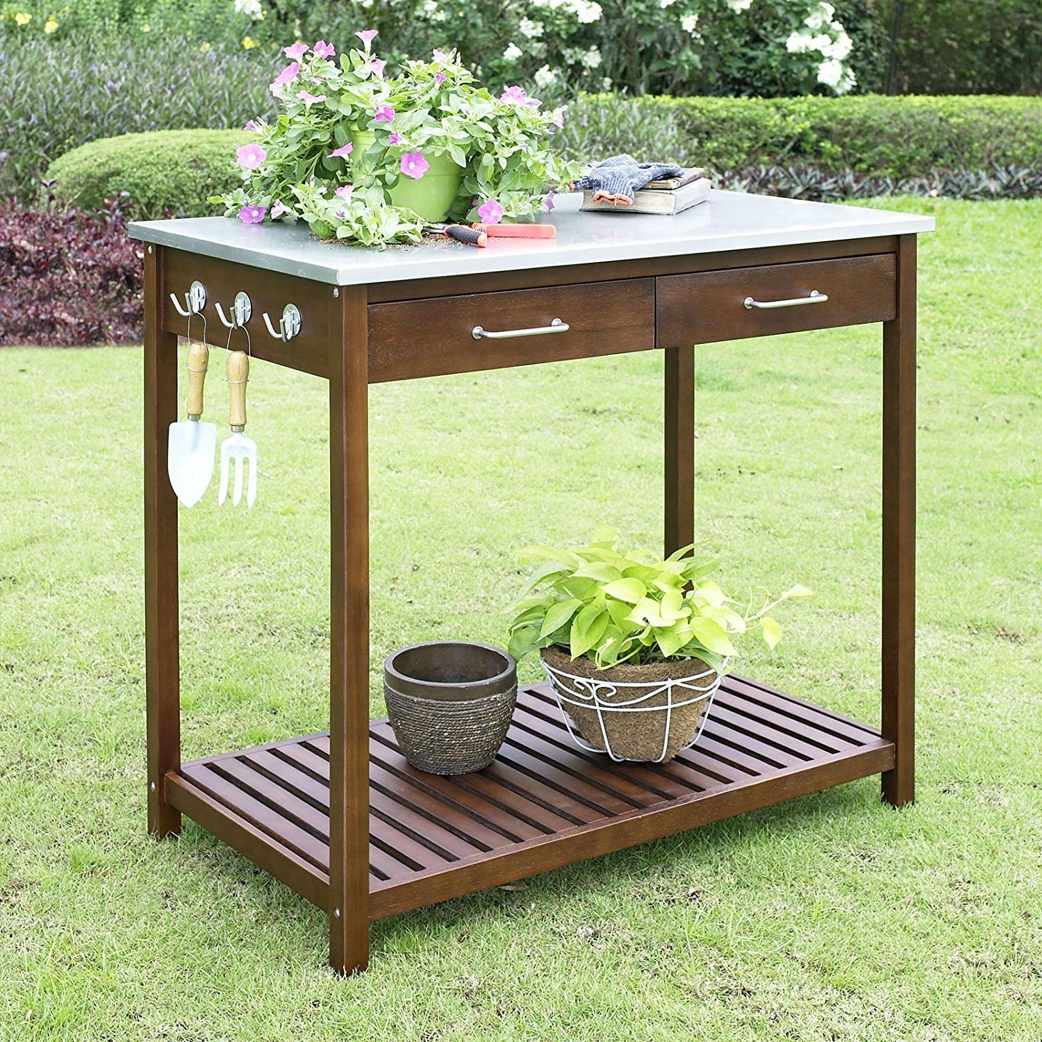 Outdoor Solid Wood Potting Bench Work Table With Galvanized Metal Top Fastfurnishings