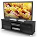 Modern Black TV Stand with Glass Doors - Fits up to 68-inch TV