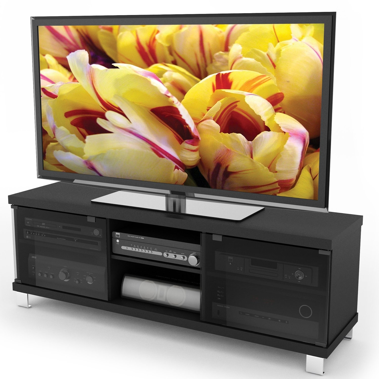 Modern Black Tv Stand With Glass Doors Fits Up To 68 Inch Tv Fastfurnishings Com