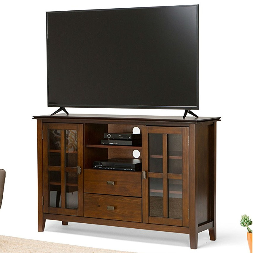 Medium Brown Solid Wood Tall Tv Stand For S Up To 60 Inch Fastfurnishings