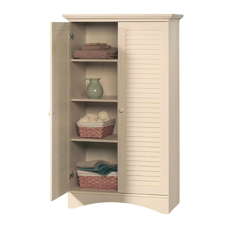 Louver 2-Door Storage Cabinet Bed Bath Armoire Wardrobe in Antique ...