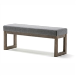 Modern Wood Frame Accent Bench Ottoman with Grey Upholstered Fabric Seat