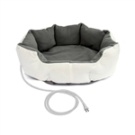 Heated 26-inch Medium size Dog Bed in White Grey with 6ft Electric Cord