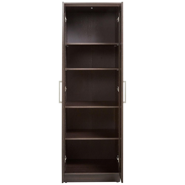 Bedroom Wardrobe Cabinet Storage Closet Organizer In Dark Brown Oak Finish