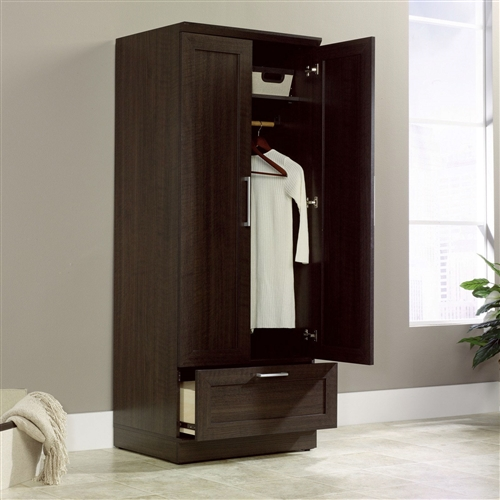 Andover Brown Collection Kitchen Cabinets Solid Wood Soft: Bedroom Wardrobe Armoire Cabinet In Dark Brown Oak Wood