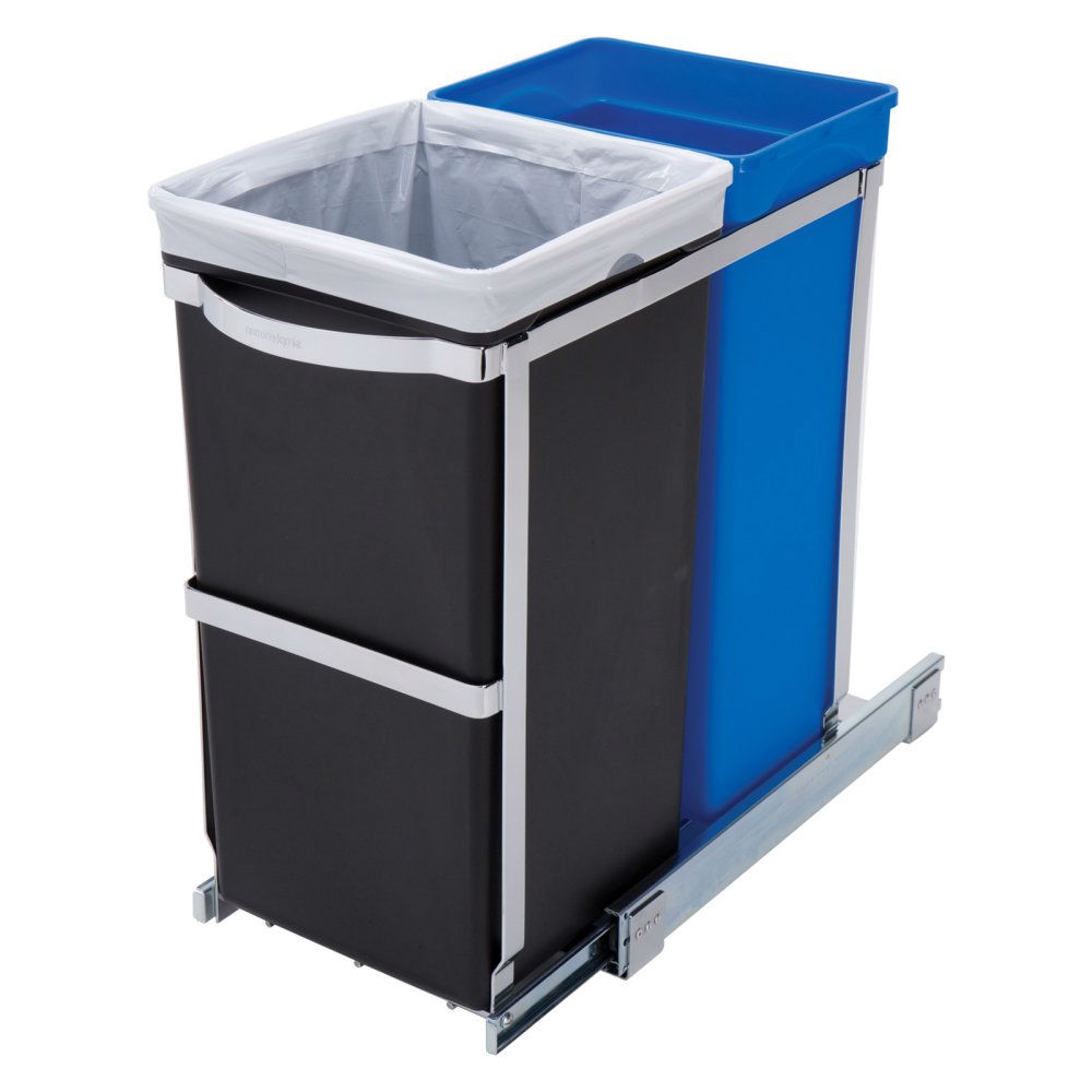 Merveilleux Pull Out Blue Recycle Bin Black Trash Can Slides Under Kitchen Counter