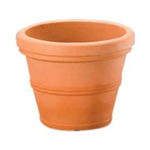 Weathered Terracotta 12-inch Diameter Round Planter in Poly Resin