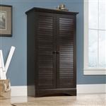 多用途衣柜衣橱储物柜,深棕色仿古木饰面
