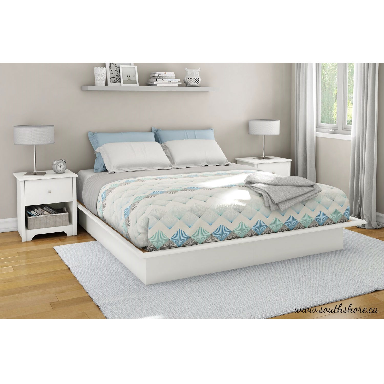King size Contemporary Platform Bed Frame in White Finish ...