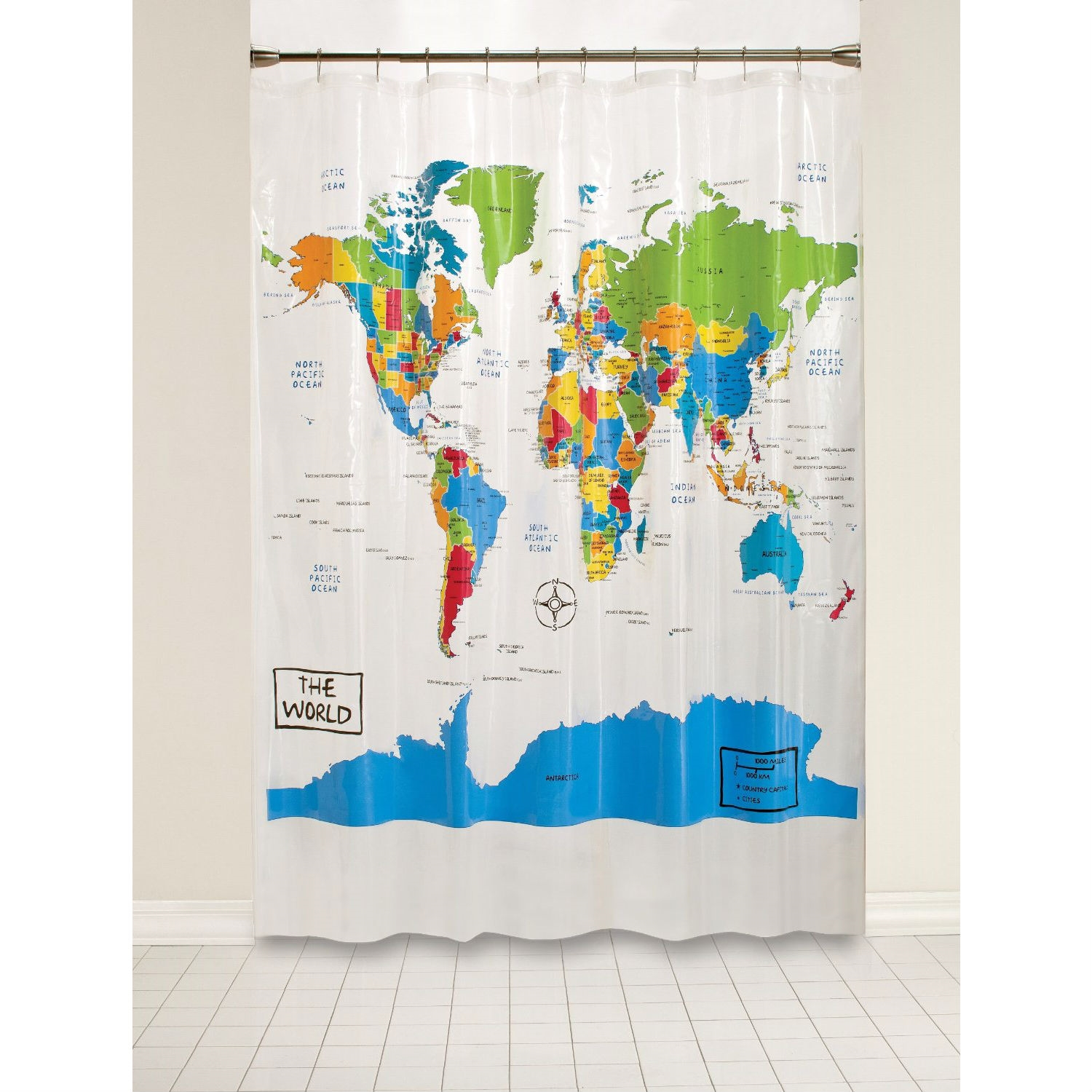 World Map Atlas Countries Oceans Shower Curtain